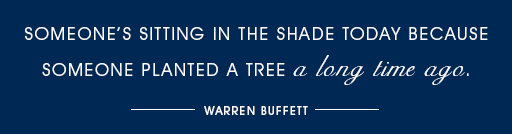 Someones sitting in the shade today because someone planted a tree a long time ago - Warren Buffett